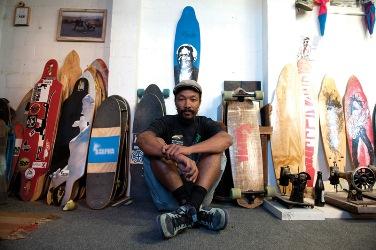 Kent Lingeveldt in his Alpha Longboard studio / workshop, Woodstock, Cape Town.